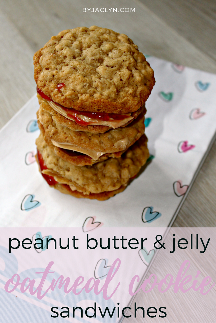 Peanut Butter & Jelly Oatmeal Cookie Sandwiches