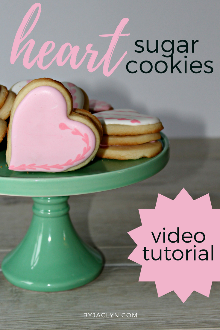 Valentine's day heart sugar cookies video decorating tutorial
