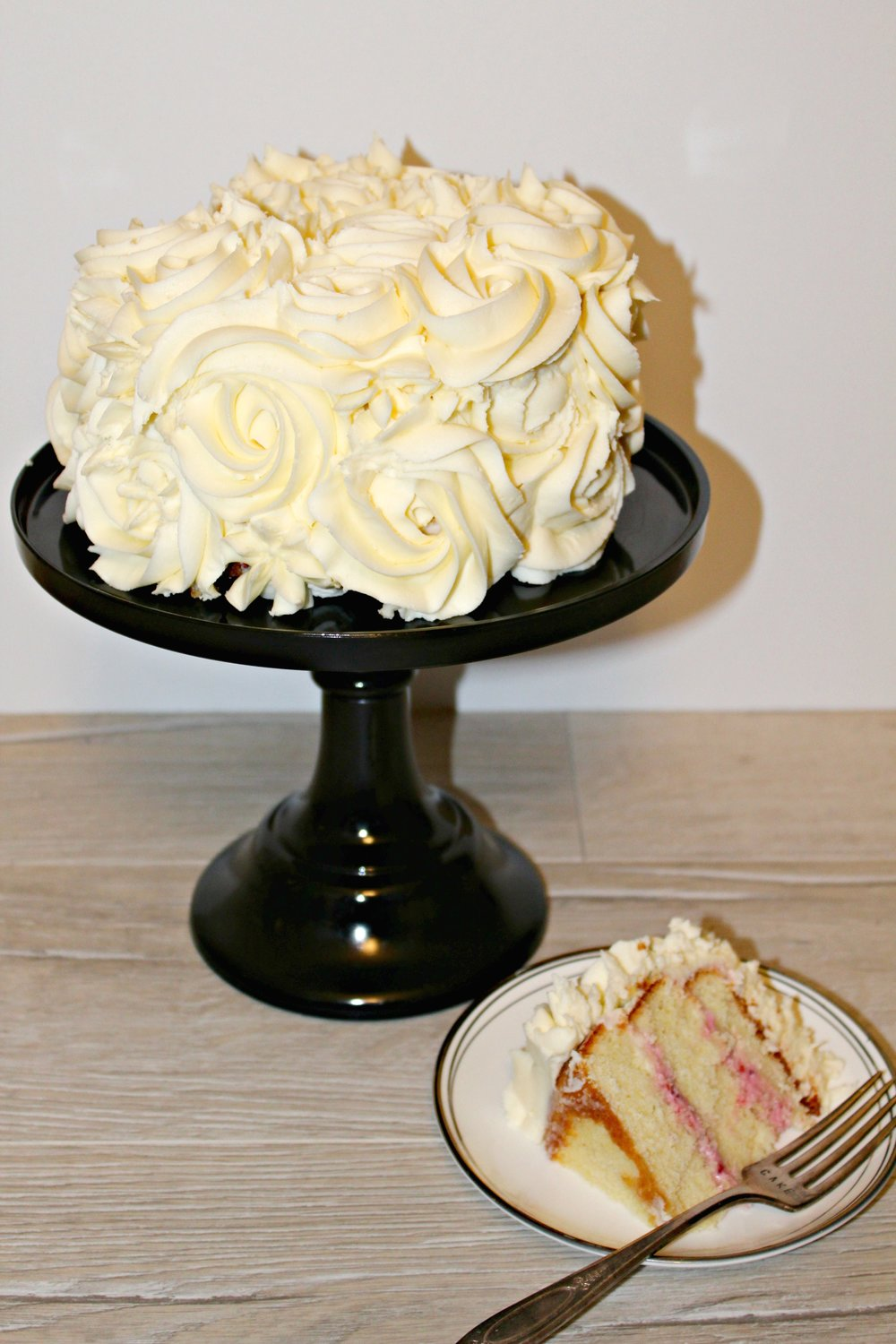 Lemon Cake filled with Raspberry Cream Cheese filling