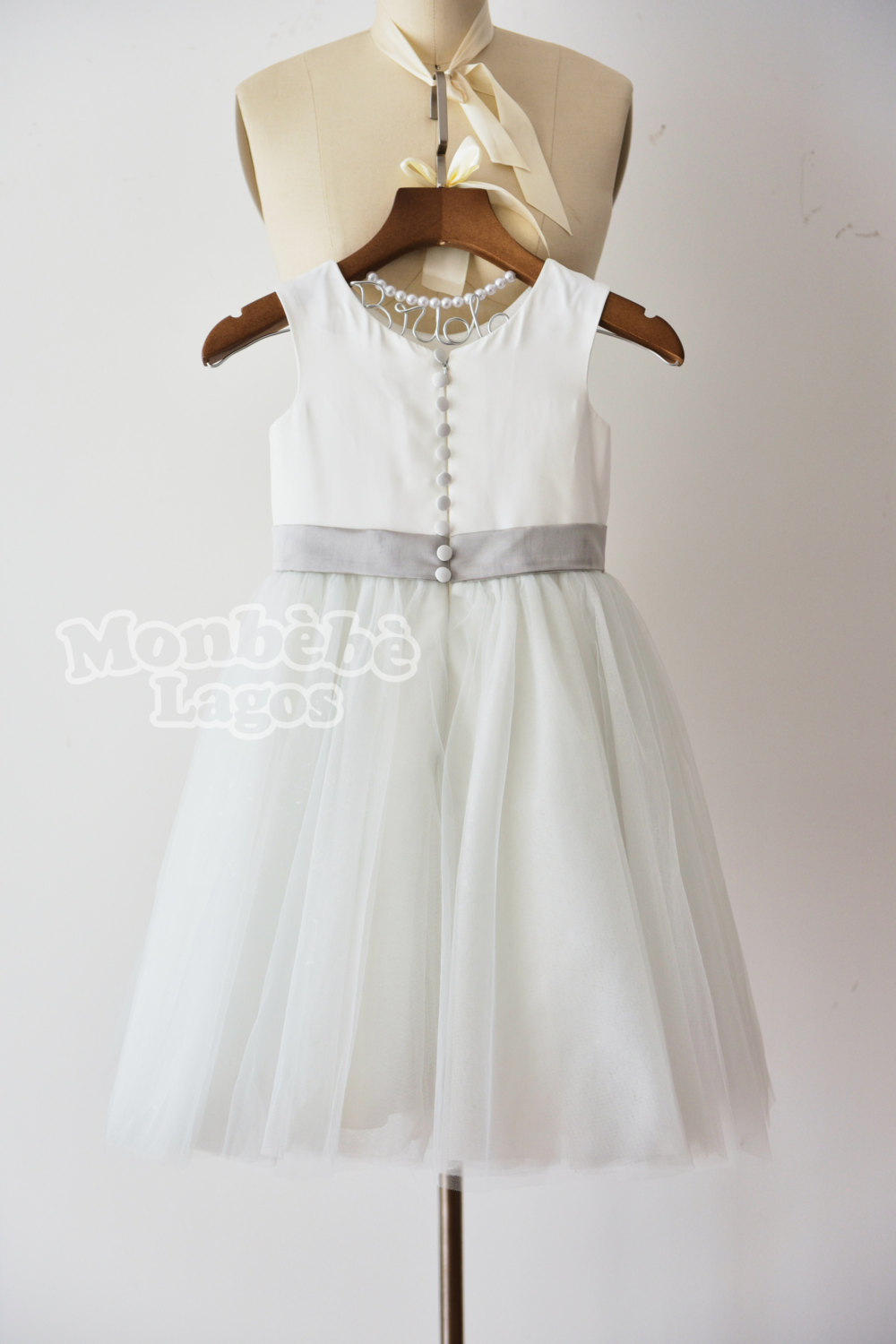 Ivory tulle dress with navy blue flower monbebe lagos ivory tulle dress with navy blue flower izmirmasajfo