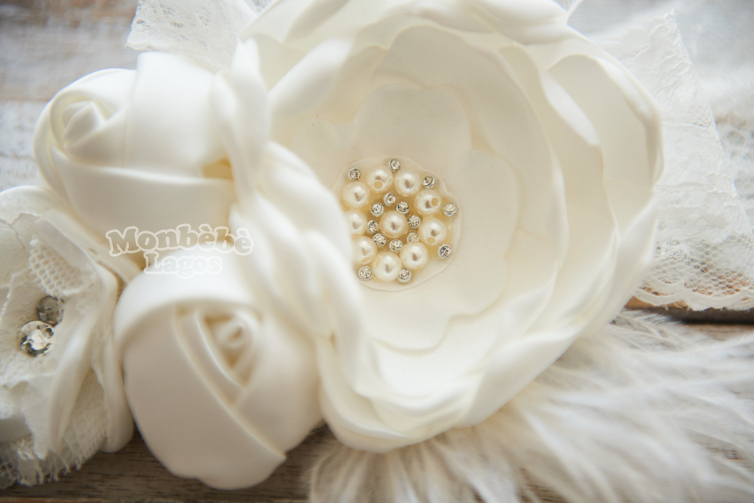 White Flower Headband With Pearls Monbebe Lagos
