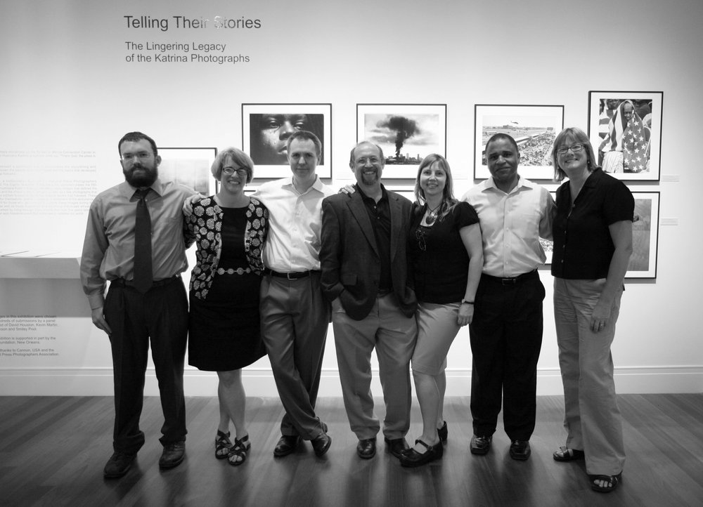 The organizing committee for Telling Their Stories, an exhibit of post-Katrina news photography, held on the five-year anniversary of the flood. Pictured (l to r): Kevin Martin, Jessica Johns Pool, Smiley Pool, Ted Jackson, Denise McGill, Irwin Thompson and Melissa Phillips.