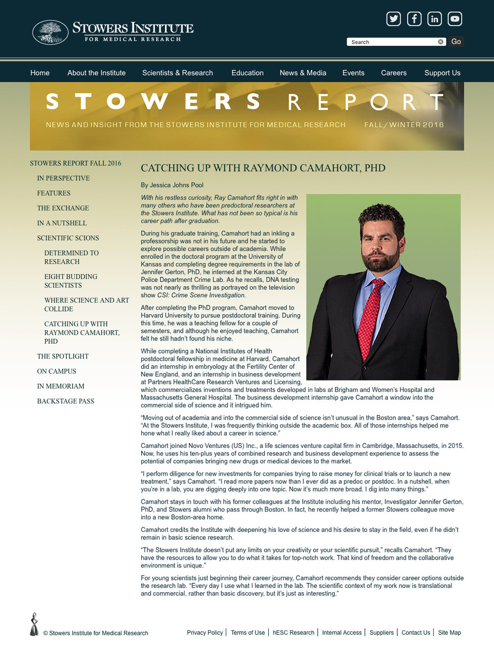 Stowers Institue Scientist Profile 2018