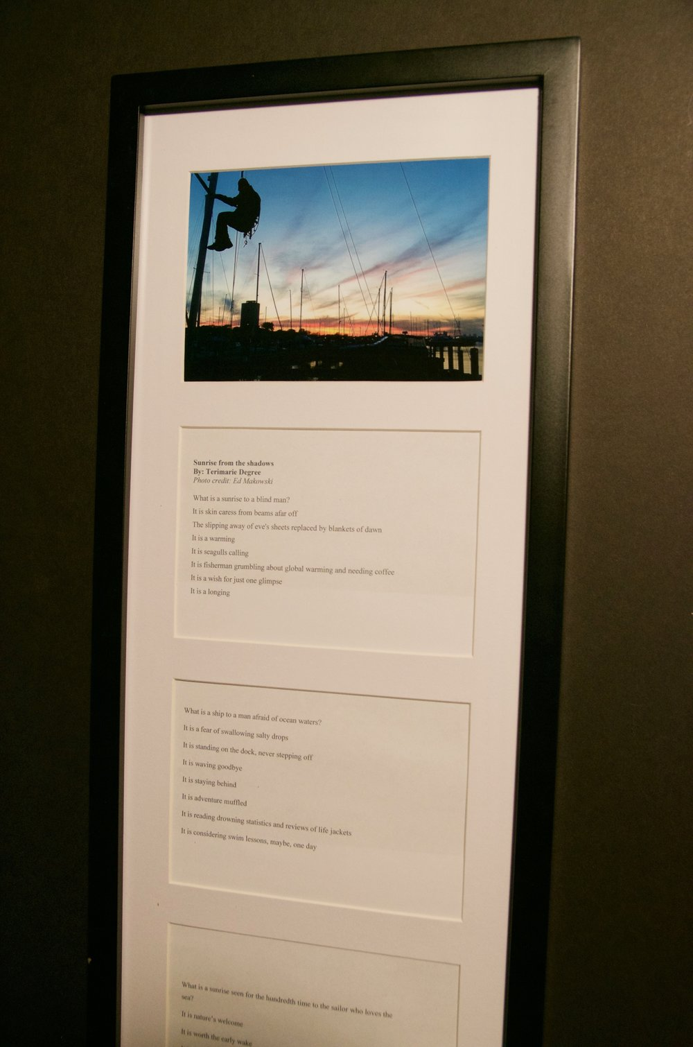 "TERIMARIE DEGREE   10""x25.5"" photo and original poem (framed)   PRICE:  $200"