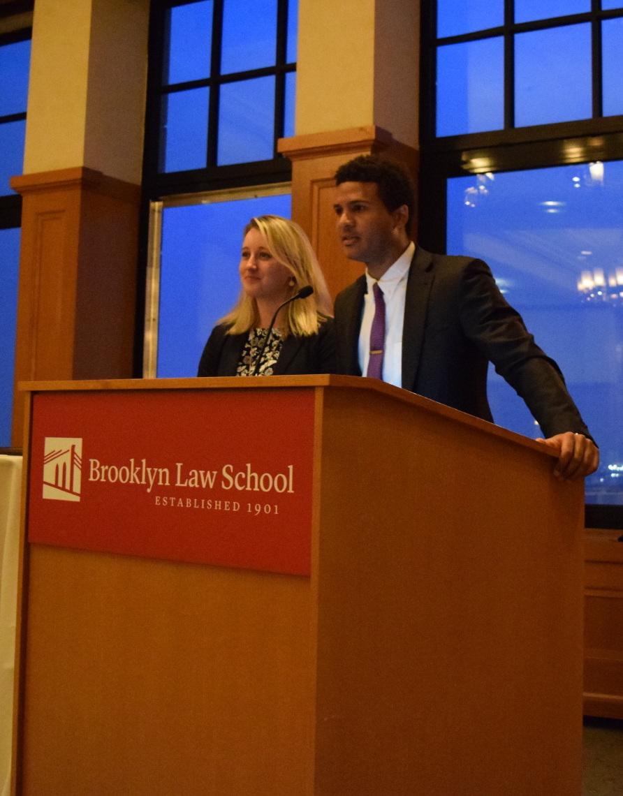 Vaughn Bobb-Willis and Lauren Rayner Davis, Co-Presidents of BESLS, address the attendees of the 2017 Alumni Dinner.