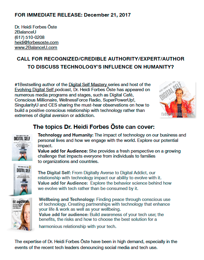 Loads of new exciting things happening.  Three books and a podcast now available!  Are you looking for an expert on technology and humanity? - Click on the image on the left to download the complete press release with contact info.