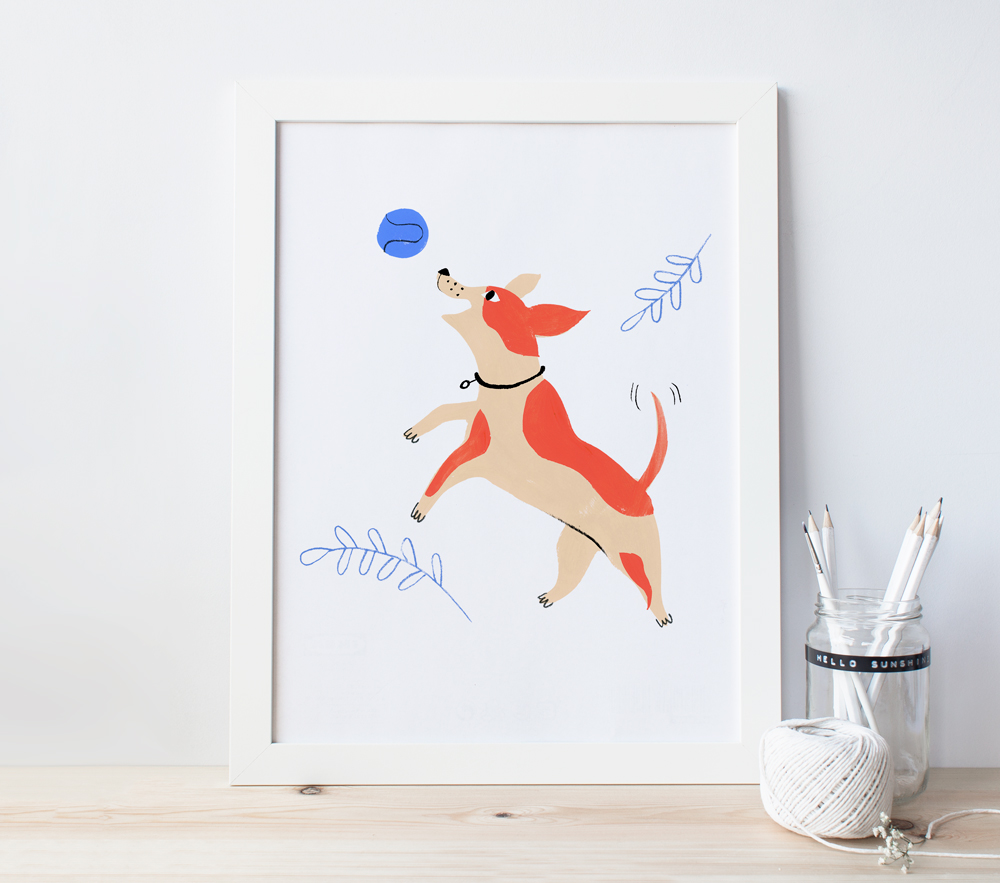 dog playing illustration by penelope dullaghan