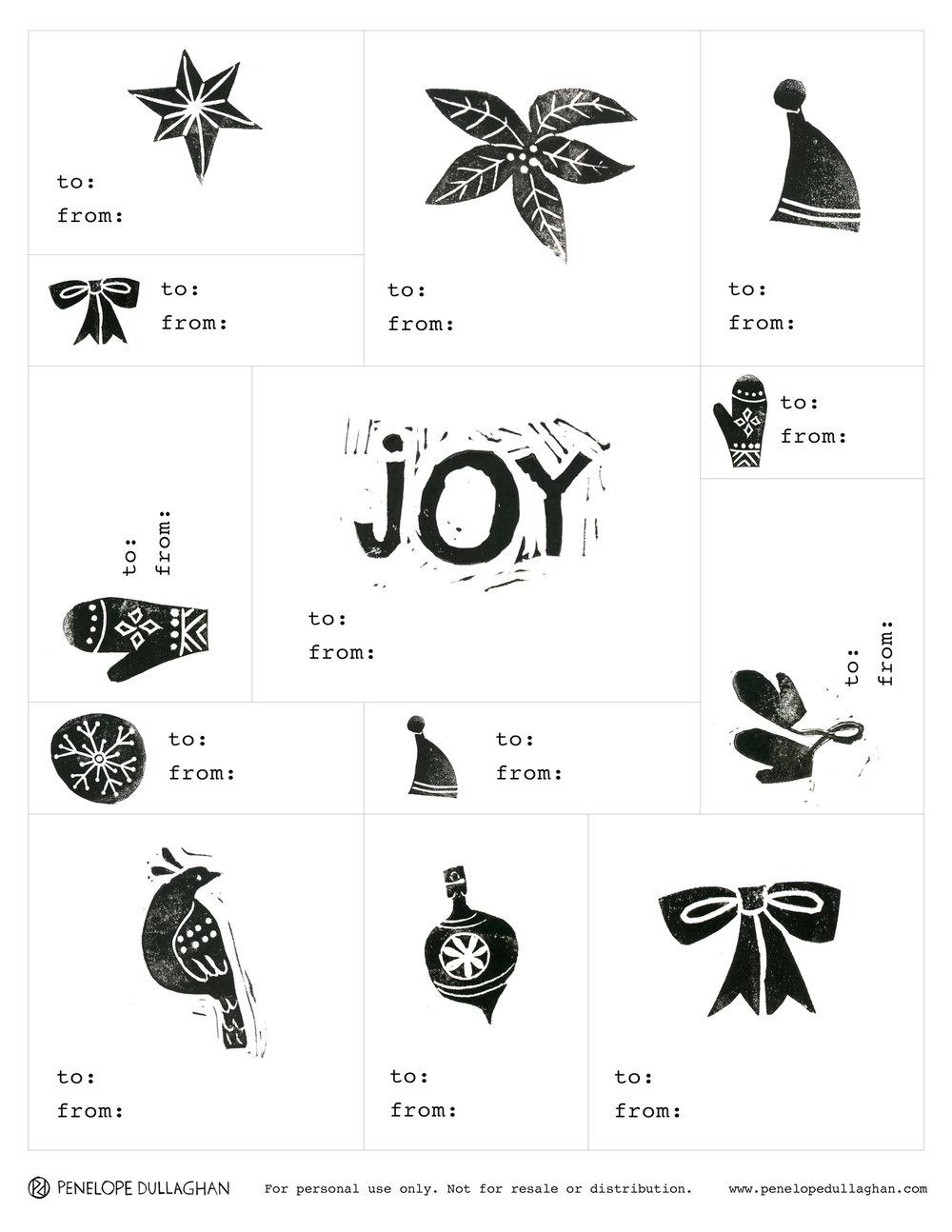 block print gift tags - free printable from illustrator Penelope Dullaghan  sc 1 st  Penelope Dullaghan & block printed gift tags - printable download for you! u2014 Penelope ...