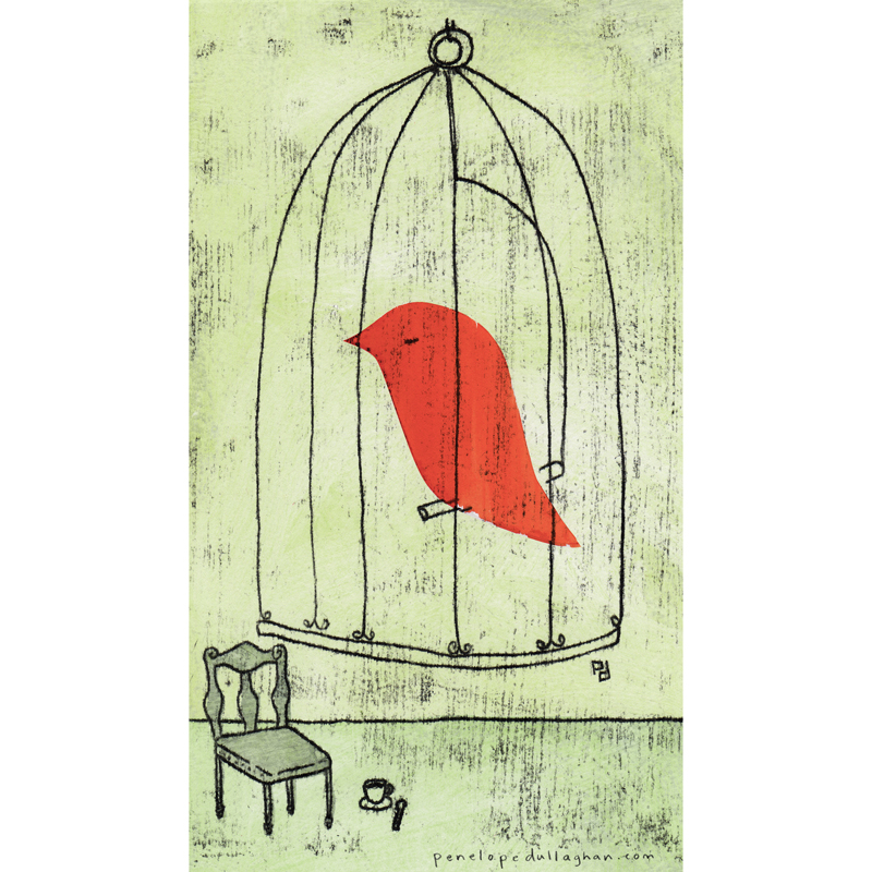 caged bird illustration by penelope dullaghan