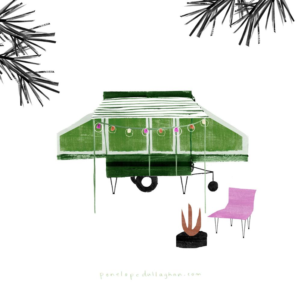 pop up camper illustration, penelope dullaghan