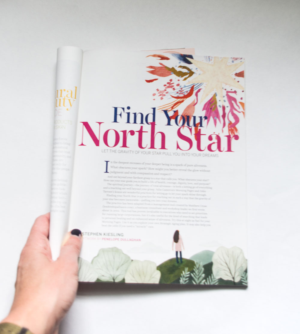 penelope dullaghan, spirituality and health magazine illustration - finding your north star