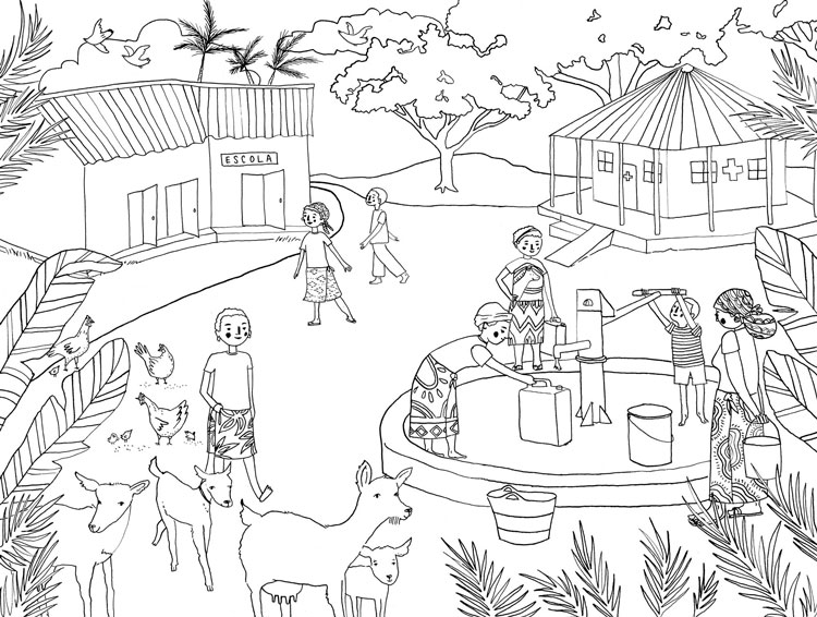 penelope dullaghan poster illustration coloring page - african village