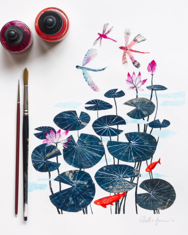 penelope dullaghan - dragonflies and lily pads