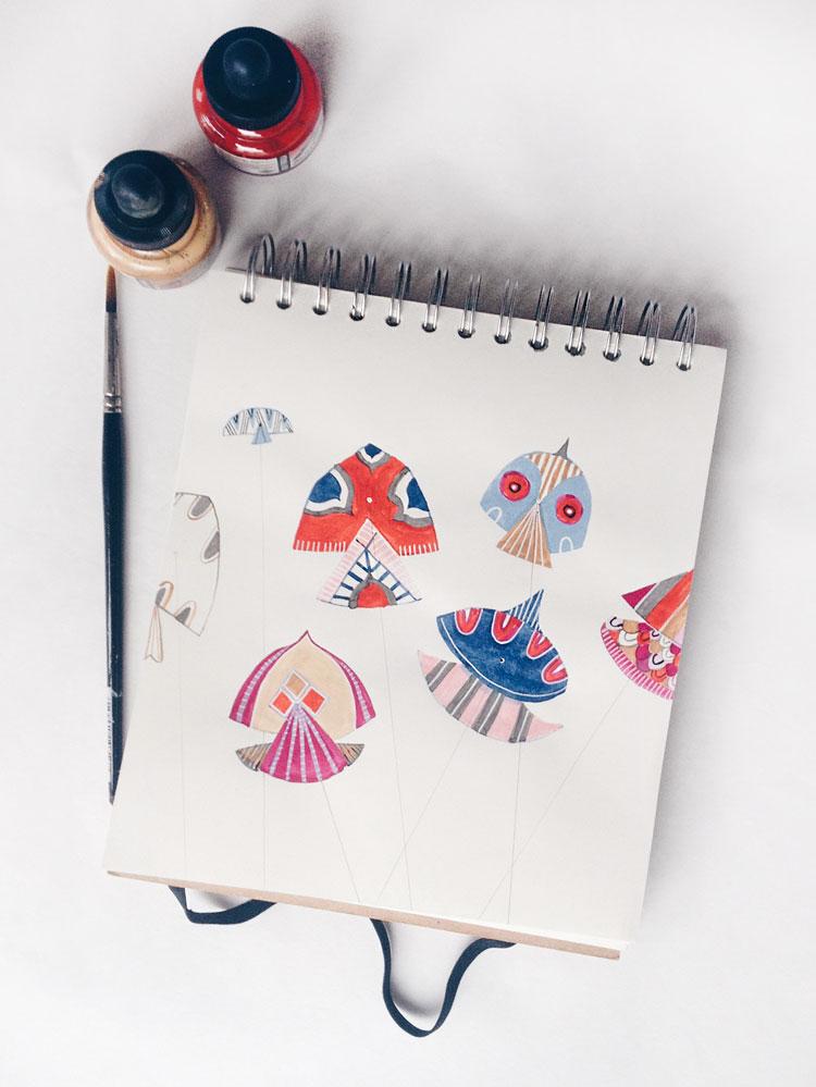 penelope dullaghan, pakistani kites illustration sketch