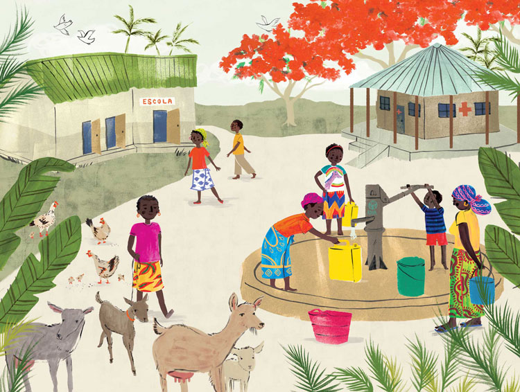 penelope dullaghan poster illustration - african village
