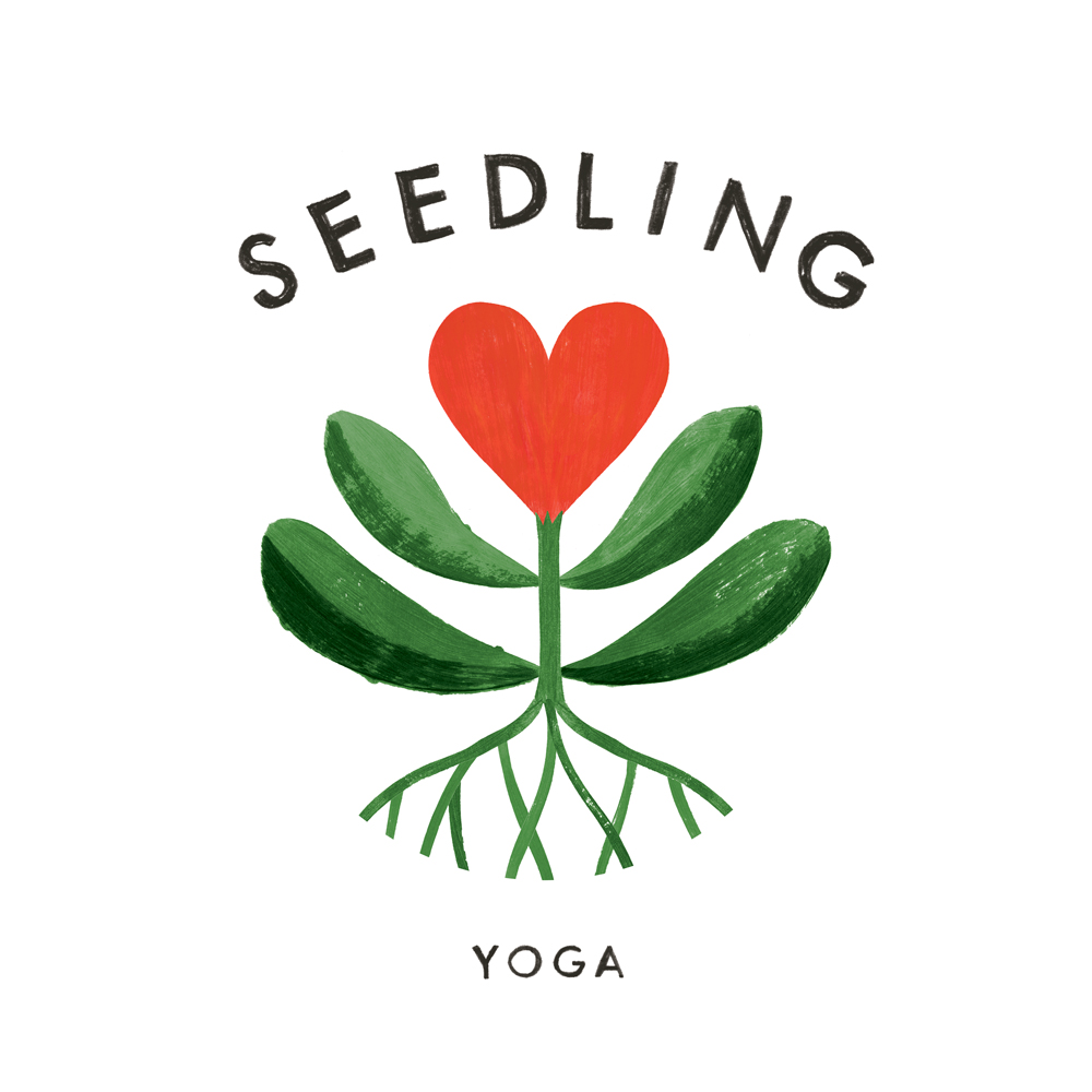 Logo design - seedling yoga - illustrated by penelope dullaghan