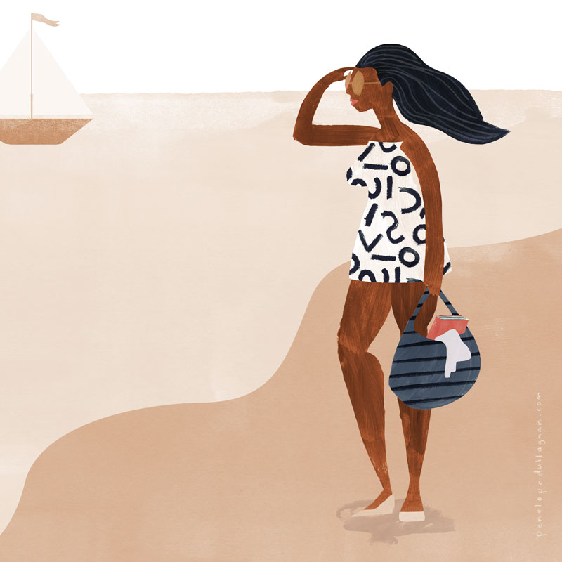 summer beach, illustration by penelope dullaghan