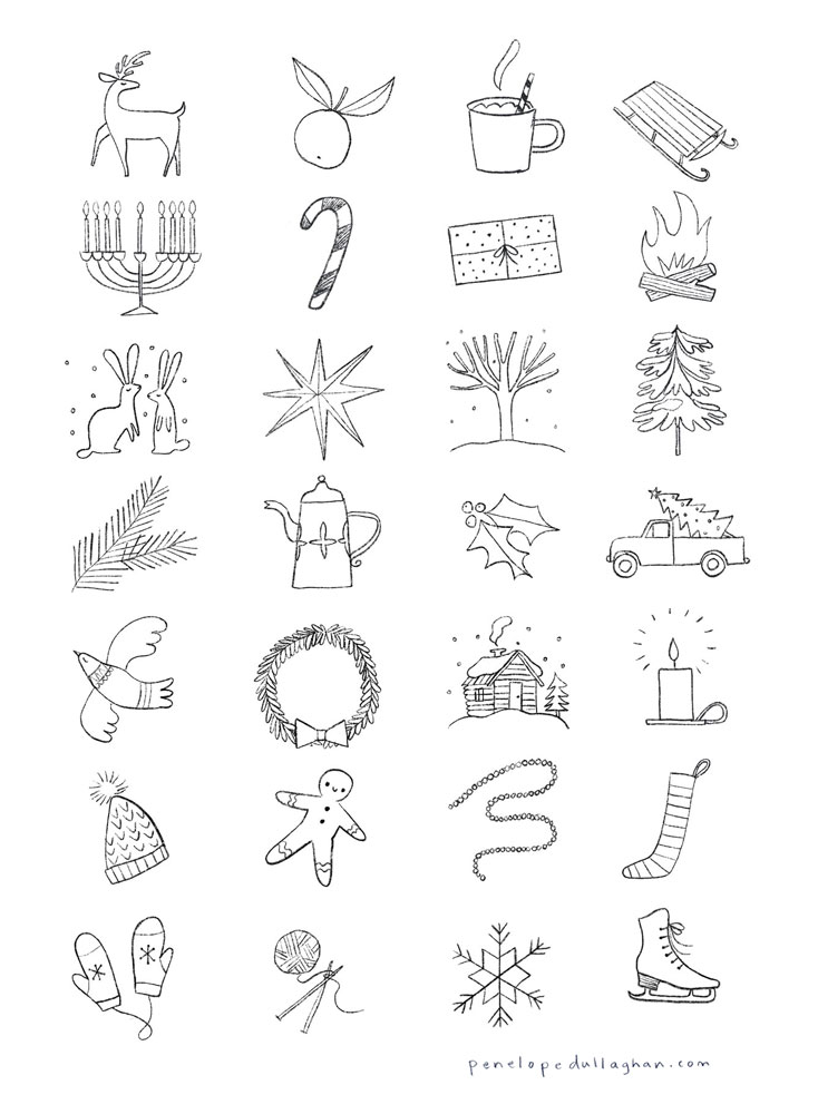 Penelope Dullaghan - sketches for Oprah's Favorite Things winter icons