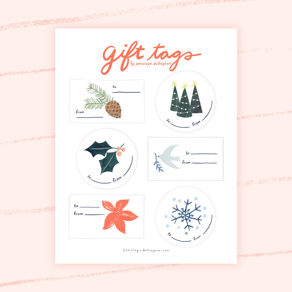 Free Illustrated Gift Tags Download from Penelope Dullaghan