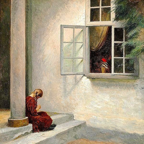 1920?, peter vilhelm ilsted, little girl by a pillar at liselund.jpg