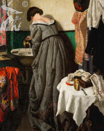 1923, Dame Laura Knight, Theatre Dressing Room.png