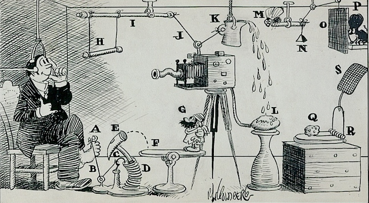 An original Rube Goldberg selfie contraption!