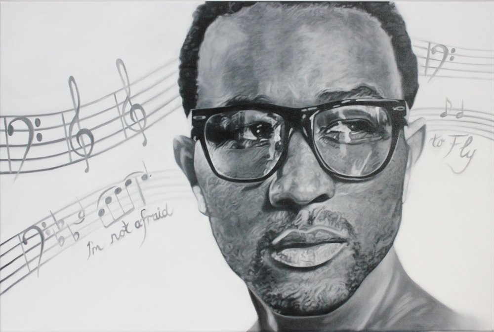 "John Legend Tribute Painting  Oil on canvas, 20"" x 30"" Private Collection"