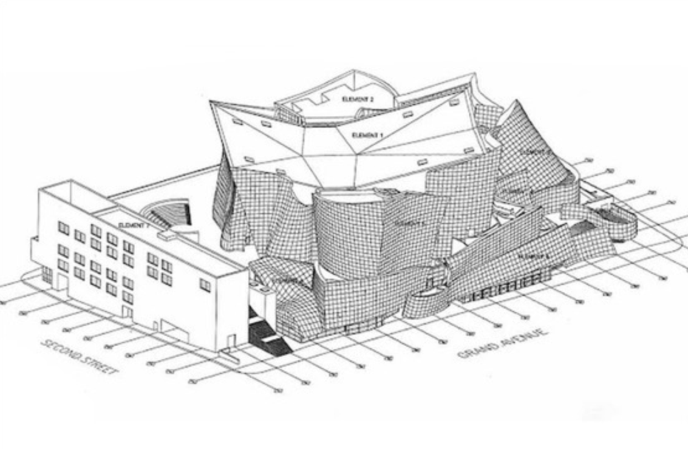 Axonometric drawing of Walt Disney Concert Hall