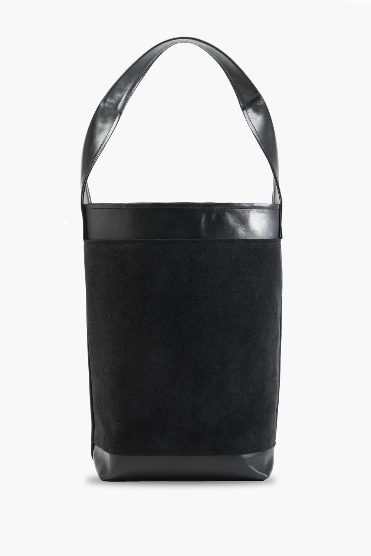 EBONY LEATHER & SUEDE BUCKET BAG