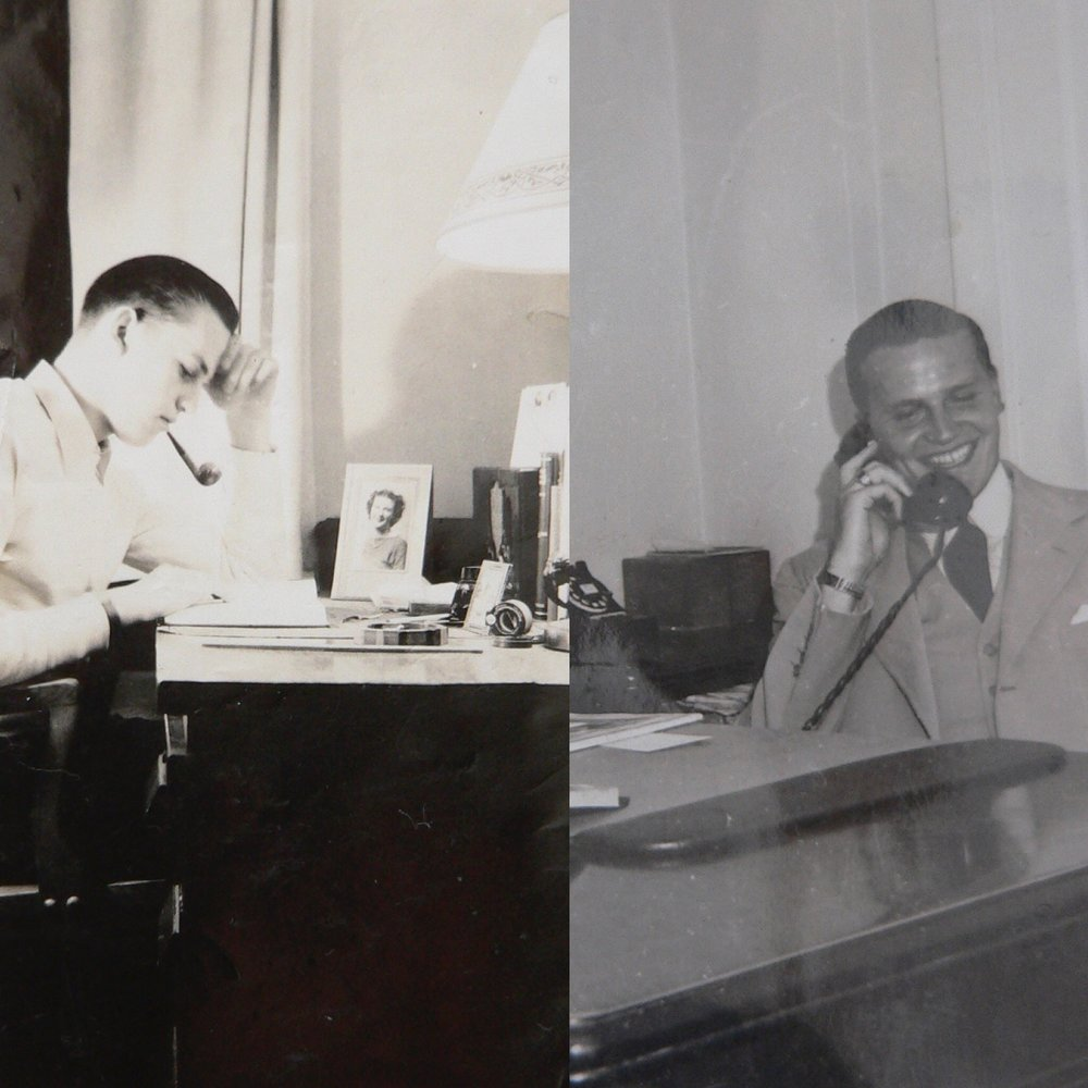 My father studying at Cornell and early in his hotel career at his desk....neat as a pin!  I would have expected nothing else.