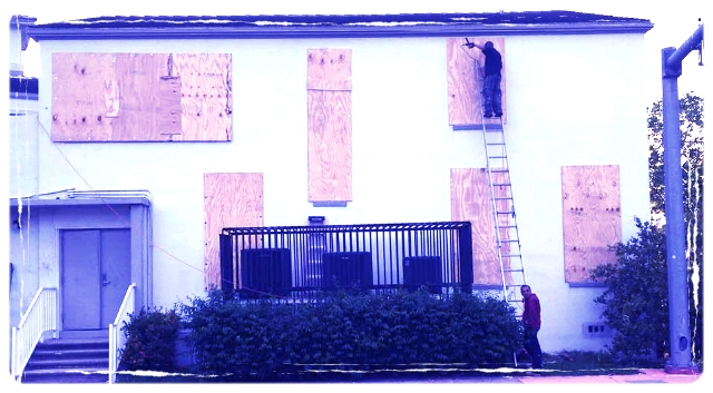 Boarding up the church...