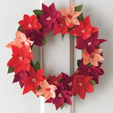 Crepe Paper Poinsettia Wreath