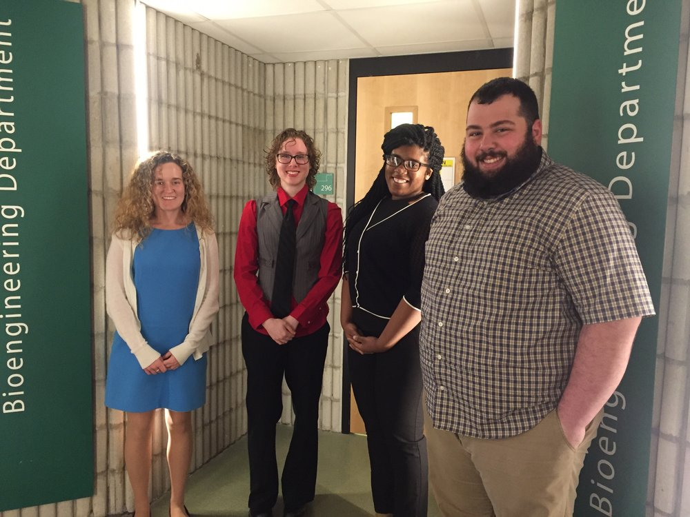 - MECHANICAL TESTING DATA CODING TEAM (2016-2017)Our team is writing comprehensive, easily modifiable, and user-friendly MATLAB code to calculate key mechanical properties measured from mechanical tests of various different configurations. (From left to right: Sydney Patten, Brenna Callahan, Uzo Nwankwo, Rob Estrella)