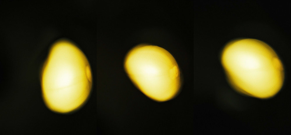 Stages of the Pregnant Lemon Moon , 2011 18 x 33.8 inches 1/1 . digital print . film photograph, digitized . merged triptych