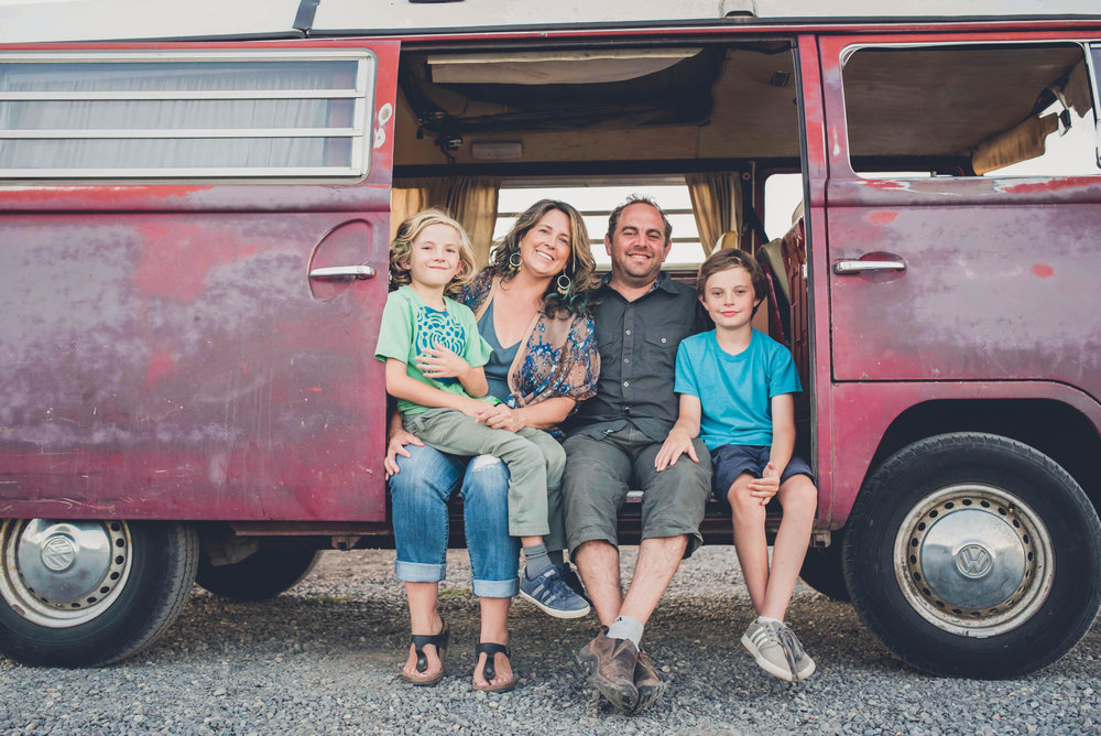 "Owners Suzanne and Aaron Baumhackl & their sons, Jenner (11 ) & Rune (8).   Look for the Solstice 71"" VW bus around town!"