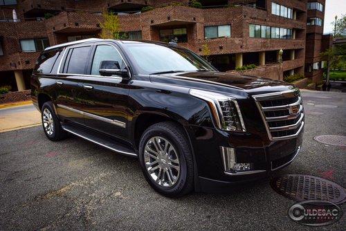 Black Cadillac Escalade ESV front side exterior