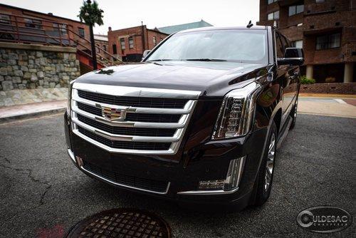 Black Cadillac ESV front exterior
