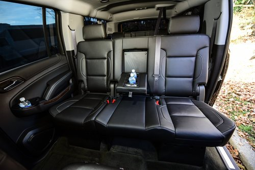 Black Chevrolet suburban interior leather seating