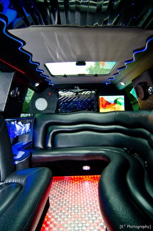 Cadillac Escalade Limo Interior red lights