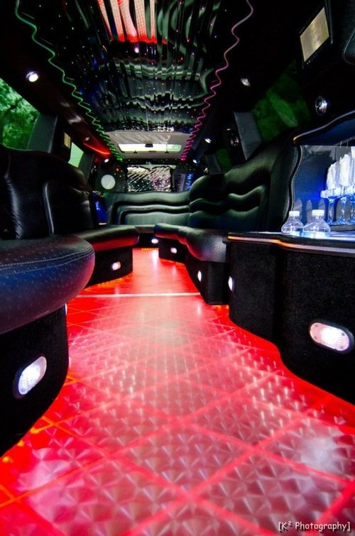 Cadillac escalade limo light show