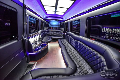 mercedes sprinter limo LED light show purple