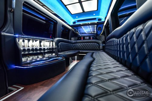 mercedes sprinter limo LED light show blue