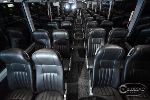 Black motor coach leather seats interior