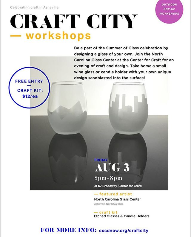 Be a part of the @summerofglass18 celebration by designing a glass of your own. Join the @ncglasscenter for an evening of craft and design. Take home a small wine glass or candle holder with your own unique design sandblasted into the surface.  Each kit includes tape and stickers, used to mask off a pattern.  Details: Location: @centerforcraft  Friday August 3, 5–8 p.m. Craft kits are just $12 each and include all the materials needed to complete one craft AND a voucher for a fully loaded hotdog (or tempe-dog) from @foothillslocalmeats hotdog cart. No pre-registration required. $5 admission (12 & up) without the purchase of a craft kit (includes one hotdog voucher). Free admission for children under 12.  Collaborative community projects will be on-site, free and suitable for all ages!