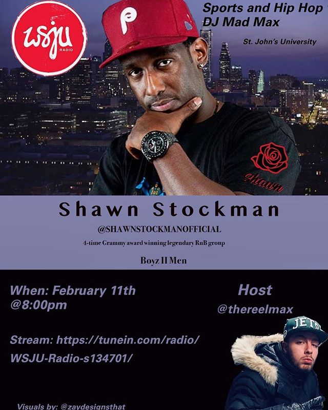 Check out Sports and Hip Hop with DJ Mad Max! Shawn Stockman from Boyz II Men will be calling in at 8:15pm est.  Stream live on tunein: https://tunein.com/radio/WSJU-Radio-s134701/. You can also listen later on Podbean: https://sportsandhiphopwithdjmadmax.podbean.com.