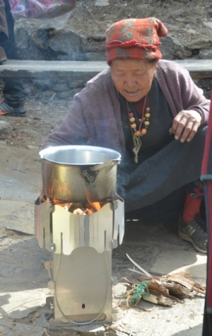 First-generation Ganesha stove in use in Brabal, Nepal