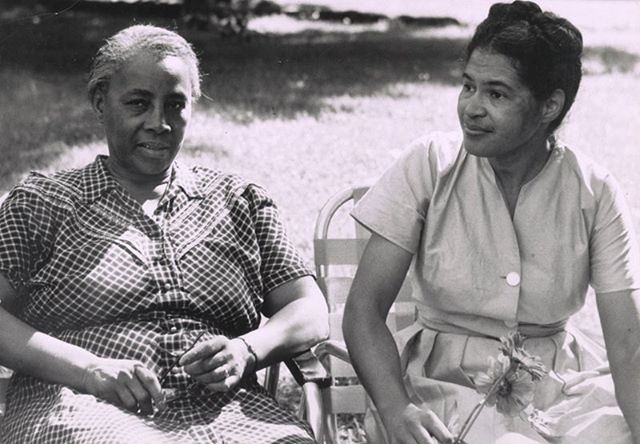 Mrs. Septima Clark and Rosa Parks at Highlander Folk School, Monteagle, Tennessee, 1955.  Today we celebrate Freedom Fighter  Septima Pionsette Clark who worked to organize Civil Rights in the the South and Appalachia #momentsinaffrilachianhistory  http://southernchanges.digitalscholarship.emory.edu/sc10-2_1204/sc10-2_010/  http://www.southerncultures.org/article/mountain-feminist-helen-matthews-lewis-appalachian-studies-and-the-long-womens-movement/