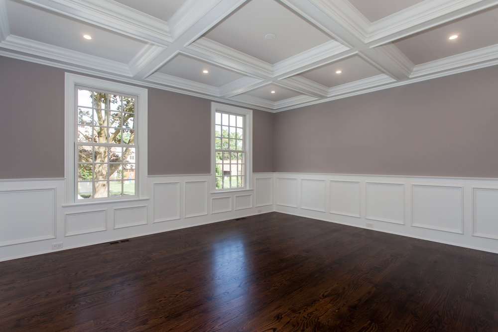 FORMAL DINING ROOM |  Coffered Ceiling and Wainscoting.