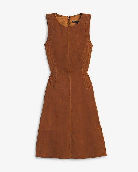 White House Black Market Suede A-Line Dress
