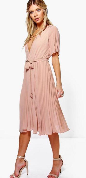 Boutique Erity Pleated Plunge Neck Midi Dress